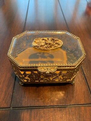 Vintage Matson Antique Jewelry Casket 24K gold plated filigree Good Cond,