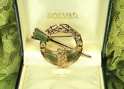 NEW Solvar TARA Brooch Made in IRELAND CONNEMARLE Marble THISTLE 18k GOLD Plated