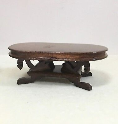 Vintage Concord Dollhouse Miniature Wooden Walnut Fancy Coffee Table