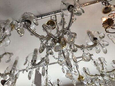 VINTAGE CHANDELIER HALLWAY BEDROOM ROOM 5 LIGHT FRENCH CRYSTAL CZECH No.109