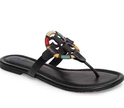 ba9573b27f2cd3 Tory Burch NEW Miller Black Leather Embroidered Colorful Flat Sandals Runs  Small