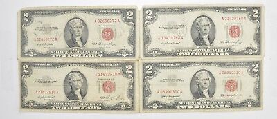 Lot (4) Red Seal $2.00 US 1953 or 1963 Notes - Currency Collection *485