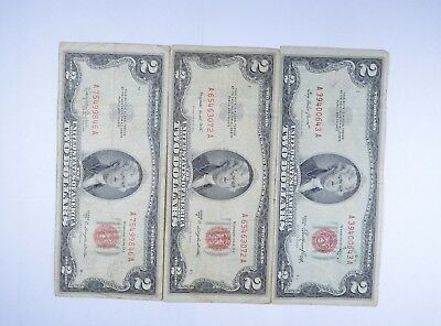 Lot (3) Red Seal $2.00 US 1953 or 1963 Notes - Currency Collection *105