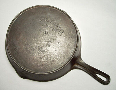 "VOLLRATH WARE ~ Vintage Quality Cast Iron 9.25"" SKILLET w/Spouts & Ring (#6)"