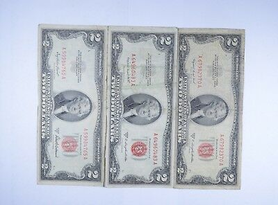 Lot (3) Red Seal $2.00 US 1953 or 1963 Notes - Currency Collection *106