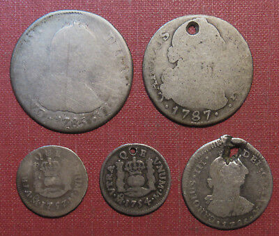 Lot Of (5) Spain And Spanish Colonial Silver Minors - Damaged Or Low Grade