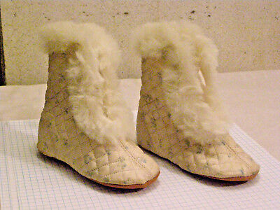 Antique Blue & Cream Quilted Silk Children's Carriage Boots W/ Rabbit Fur Trim