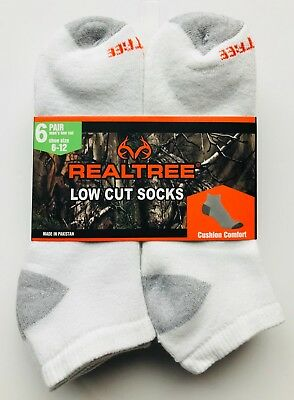 6 Pairs RealTree Men's Full Cushion Outdoor Low Cut  Socks Size 10-13 White