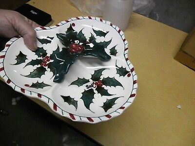 Lefton Triangle Holly Candy Dish 028