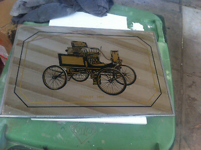Old vintage car bar mirror Stanley 1899 horseless carriage suit mancave shed