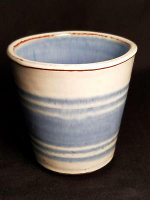 """Rare Deneen Pottery Water Glass Stoneware Vintage 3 1/2"""" Tall Blue MINT"""