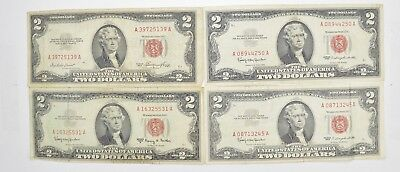 Lot (4) Red Seal $2.00 US 1953 or 1963 Notes - Currency Collection *489