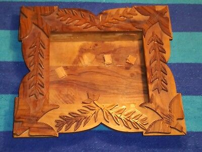 Unique Vintage Collectible Wooden Hand Carved Picture Photo Frame Fits 4x5 pict