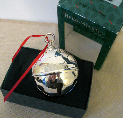 Vtg Reed & Barton 2003 Annual Holly Bell Ball Silverplate Christmas Ornament