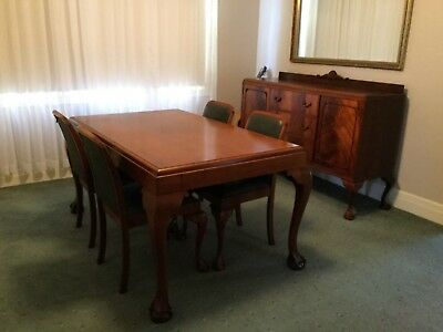 Antique table (4 chairs) and sideboard with claw feet