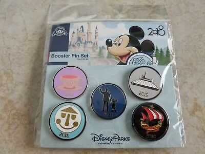 Disney Parks Trading Pins Lot of 5 New 2018 Booster Set Rides Partners Mickey