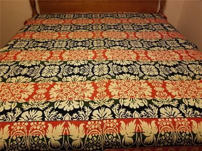 """Fine and Rare Antique 1839 Jacquard Coverlet  by Eliza Henry 94"""" x 82"""" 4 Color"""