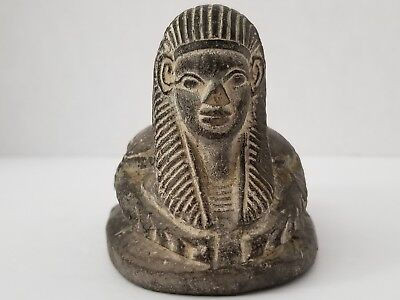 Ancient Egyptian Antique Egypt Sphinx Scarab Beetle Carved Stone Hieroglyphs
