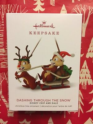 Hallmark 2018 Dashing Through The Snow Chip And Dale Ornament New  Box Marked On