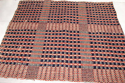 Antique Americana Brick Red White Blue Woven Coverlet Piece Primitive Crafting