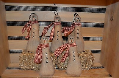 5 Primitive Hanging SNOWMAN Ornies Doll Tucks CHRISTMAS Tree Ornaments Make Do's
