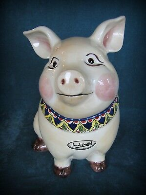 """Large Hand Painted Sitting Pig Ceramic Figurine 12 1/2"""" Tall- Table Tops Gallery"""
