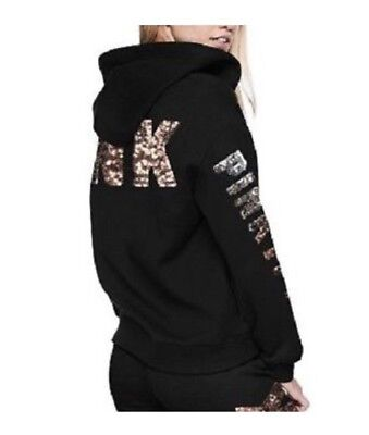 1d90a96e9 NWT VICTORIA'S SECRET PINK Full Zip-Up Hoodie Ombre Sequin Bling ...