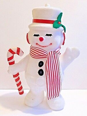 Vintage Flocked Snowman Kitschy 1960s Holding Candy Cane Wears Top Hat Earmuffs