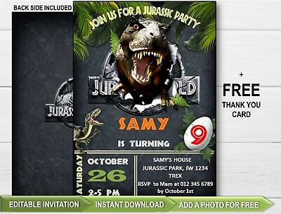 Jurassic World Party Invitation Dinosaur