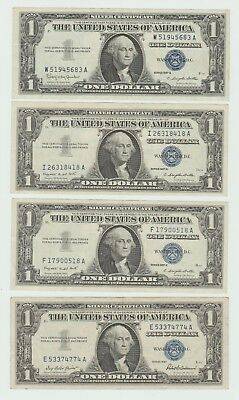 *** US 1 dollar - set of 4 notes - Silver certificate - 1957 ***
