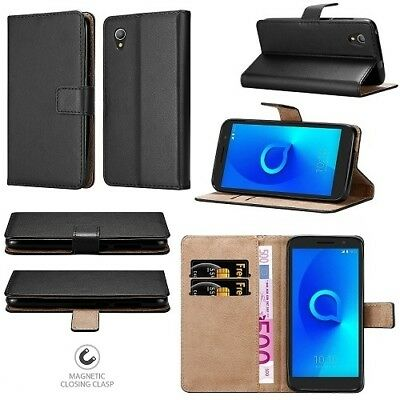 New Stylish Genuine Black Leather Wallet Phone Case Cover For Alcatel 1 5033X