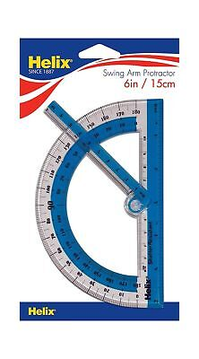 "Helix 180° Shatter Resistant Swing Arm Protractor 6"" / 15cm"