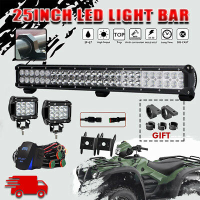 25INCH 162W CREE LED Work Light Bar Spot Flood Combo Offroad for Honda Rubicon