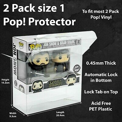 2 Pack size 1 Funko Pop! Vinyl Protector Case Acid Free PET Plastic Sealed