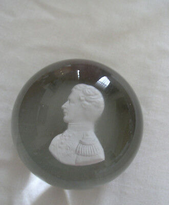 ANTIQUE CLICHY INCRUSTED SULPHIDE PAPERWEIGHT OF PRINCE ALBERT c 1851