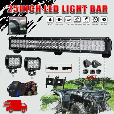 25INCH 162W CREE LED Work Light Bar Spot Flood Combo Offroad for Can-Am Defender