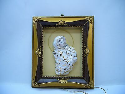 ANTIQUE Porcelain 3D Mother Mary & Baby Jesus wall art Lighted SPACA Catholic