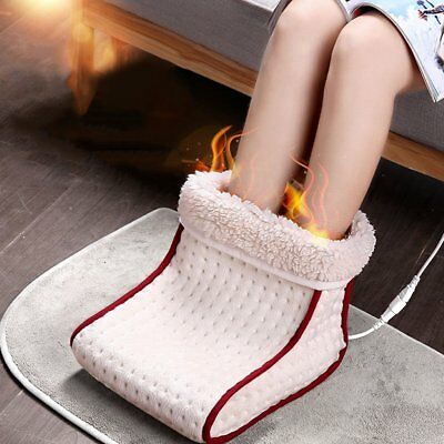 Electric Heated Foot Warmer Feet Massager Comfort Fleece Suede Relaxing Us