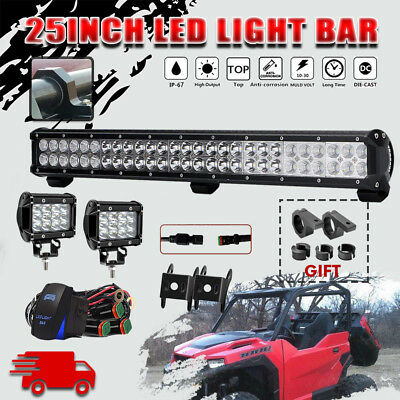 """25""""162W CREE LED Work Light Bar Spot Flood Combo Offroad for Polaris General 4"""