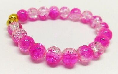 Handmade Boho Hot Pink Crackle Glass Beads Bracelet,Elasticated Bracelet
