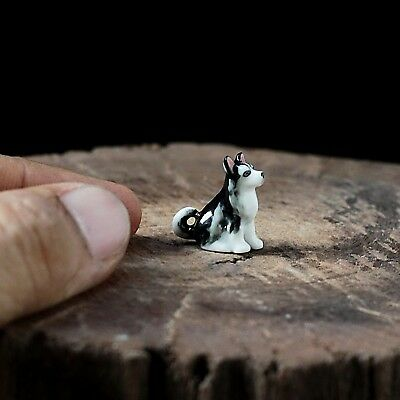 Dollhouse Miniature Tiny Siberian Husky Dog Ceramic Mini Figurine Hand Painted