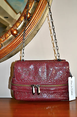 NWT $395 POUR LA VICTOIRE Embossed Leather Burgundy RED Wine Crossbody Bag Chain