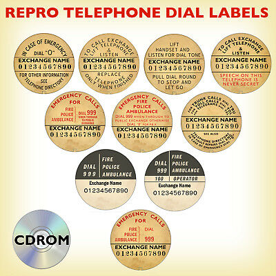 EDITABLE TELEPHONE DIAL NUMBER LABELS Rotary Bakelite phones 200 300 700 series