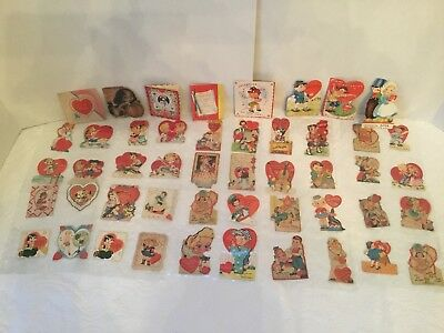 Vintage Valentine Day Cards 1940's -1950's Lot Of 48