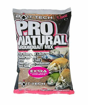 BAIT TECH PRO NATURAL EXTRA GROUNDBAIT 1.5kg For Carp, Bream, Barbel Fishing