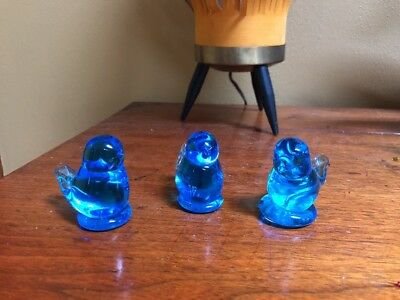 3 Blue Glass Birds *Signed Ron Ray* 1991 - 92 ~ hand blown ~ Beautiful