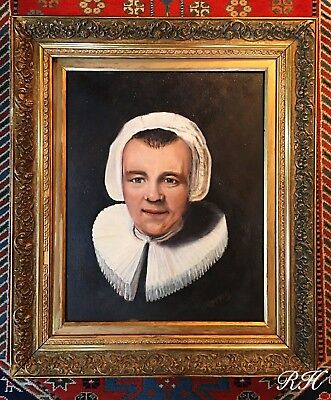 Antique 19thC Oil Painting Portrait Dutch Lady by J.R.Chambers Wooden Gilt Frame