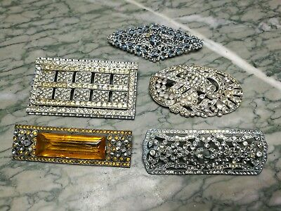 Job Lot Of Vintage Art Deco Paste Brooches For Spare Repair