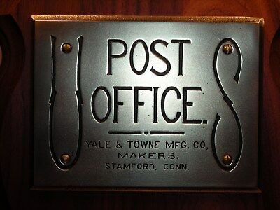 Cast Brass Antique YALE U S Post Office Plaque @ USPS Mail Box @ Postal P O Door