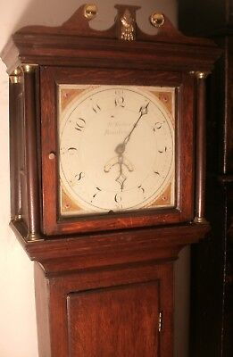 "Antique Slim Oak  Painted Dial ""  Reading ""   Longcase / Grandfather Clock"